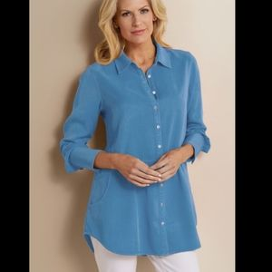 Soft Surroundings Easy Tencel top blue button up